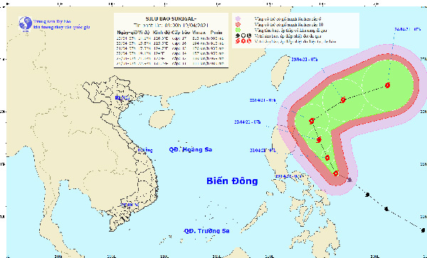 Super typhoon Surigae forecast to weaken from April 20