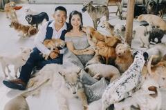 Cặp vợ chồng ở TP.HCM chụp ảnh cưới với hơn 300 thú cưng