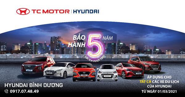 Hyundai nâng thời hạn bảo hành dòng xe du lịch lên 5 năm