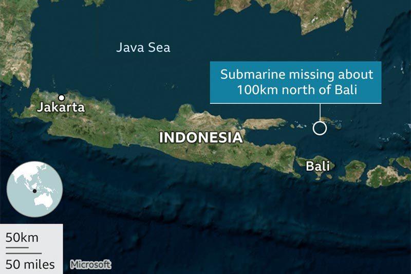 Indonesia chỉ có 72 giờ cứu sống các thủy thủ tàu ngầm mất tích