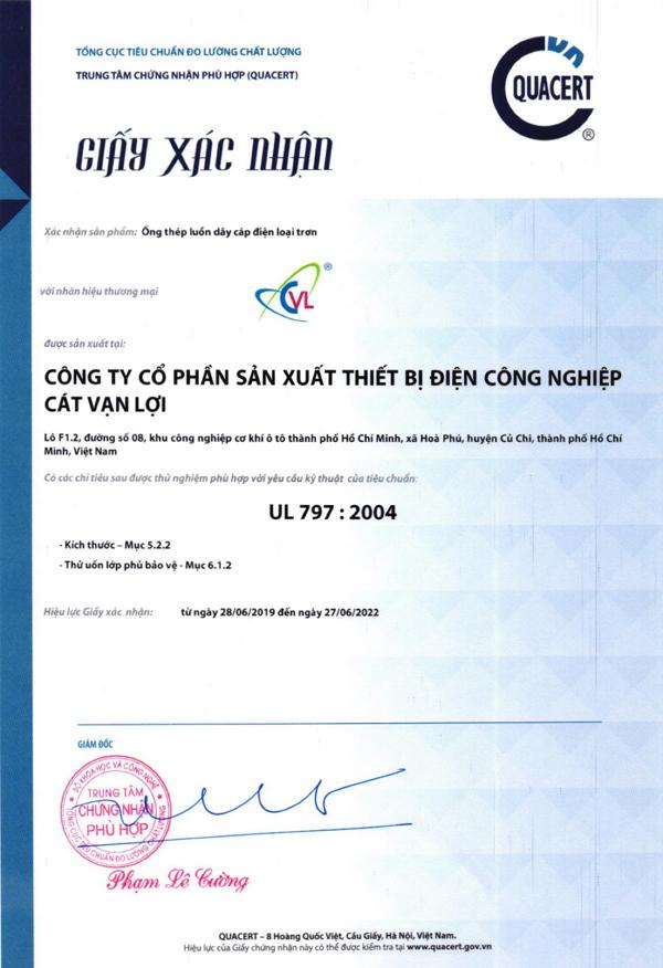 Ống luồn dây điện CVL được Quacert hỗ trợ đào tạo cấp chứng nhận UL 797