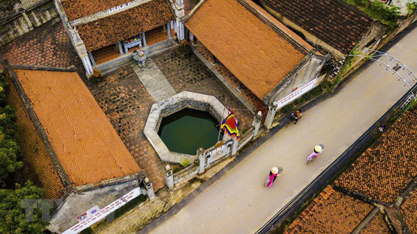 Ancient village well in Hoa Lu former imperial city