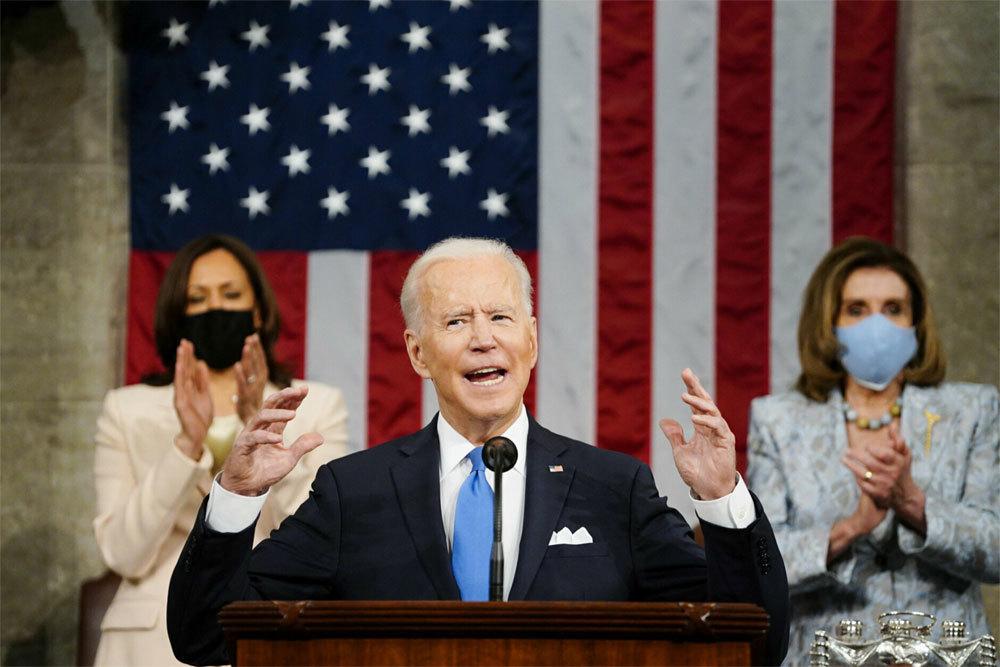 Hình ảnh ấn tượng ông Biden phát biểu trước quốc hội Mỹ