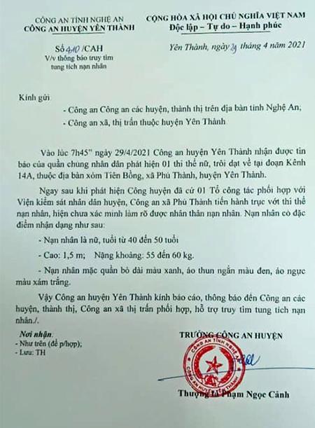 Phát hiện thi thể người phụ nữ nổi trên kênh ở Nghệ An