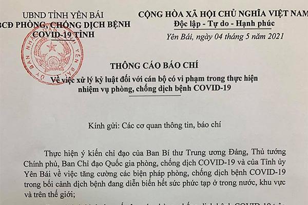 Kỷ luật cảnh cáo Giám đốc Trung tâm Y tế thành phố Yên Bái