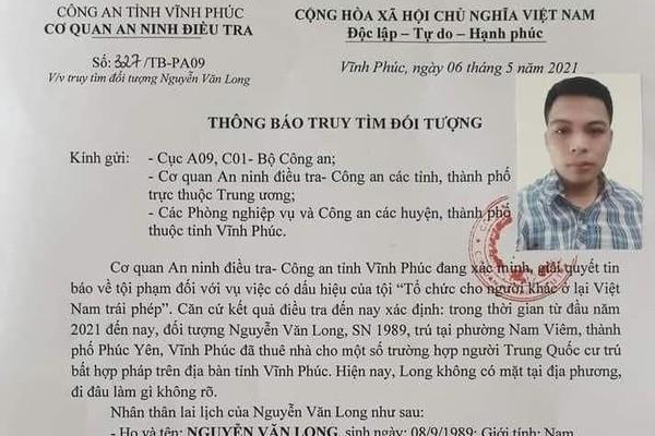 Công an Vĩnh Phúc truy tìm kẻ tổ chức cho người Trung Quốc sống 'chui'