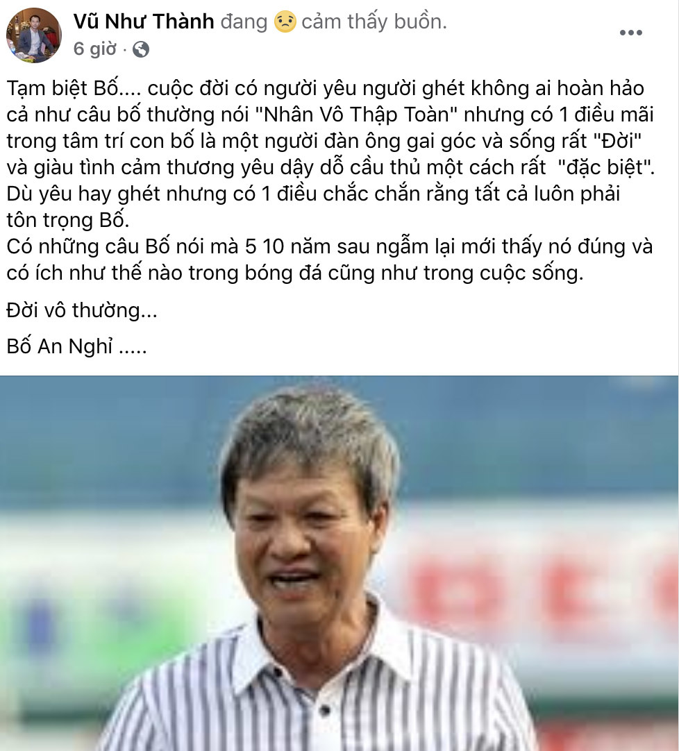 Giới cầu thủ Việt tiếc thương HLV Lê Thuỵ Hải