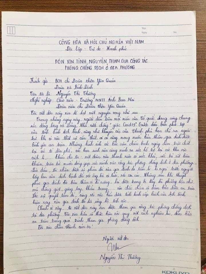 Gạt bỏ 'quyền ưu tiên', cô giáo viết đơn xin đi chống dịch ở Vĩnh Phúc