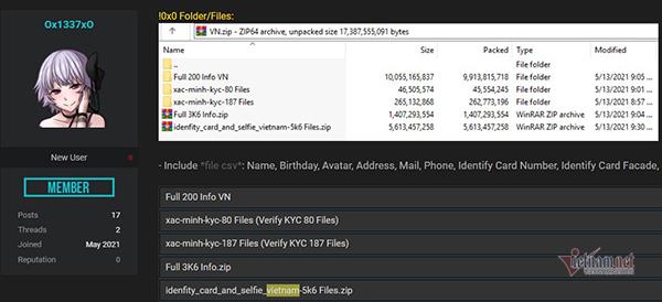 Dữ liệu cá nhân 10.000 người Việt bị rao bán trên mạng