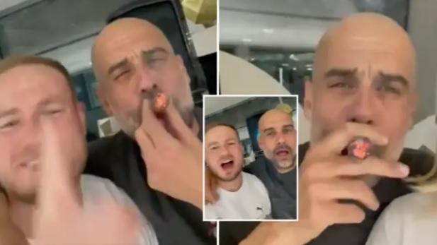 Pep Guardiola hút xì gà, hát mừng Man City vô địch Premier League