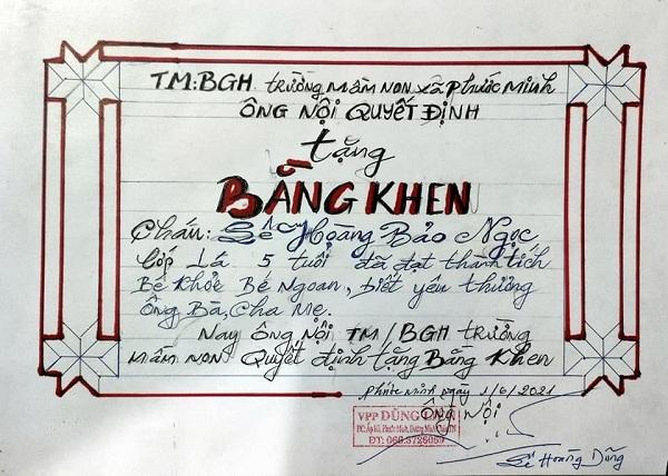 Xôn xao giấy khen độc đáo ông nội tặng cháu hết năm học Covid-19