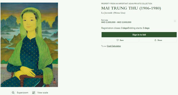 Portrait by late Vietnamese painter to be auctioned in Hong Kong