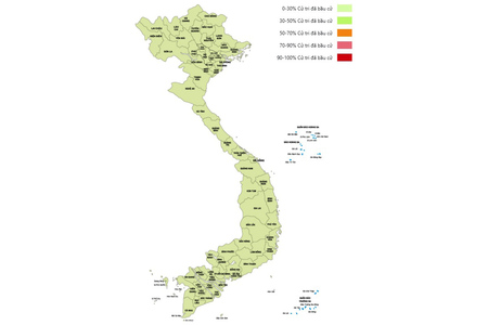 Cập nhật: Tỷ lệ cử tri đi bỏ phiếu trên cả nước