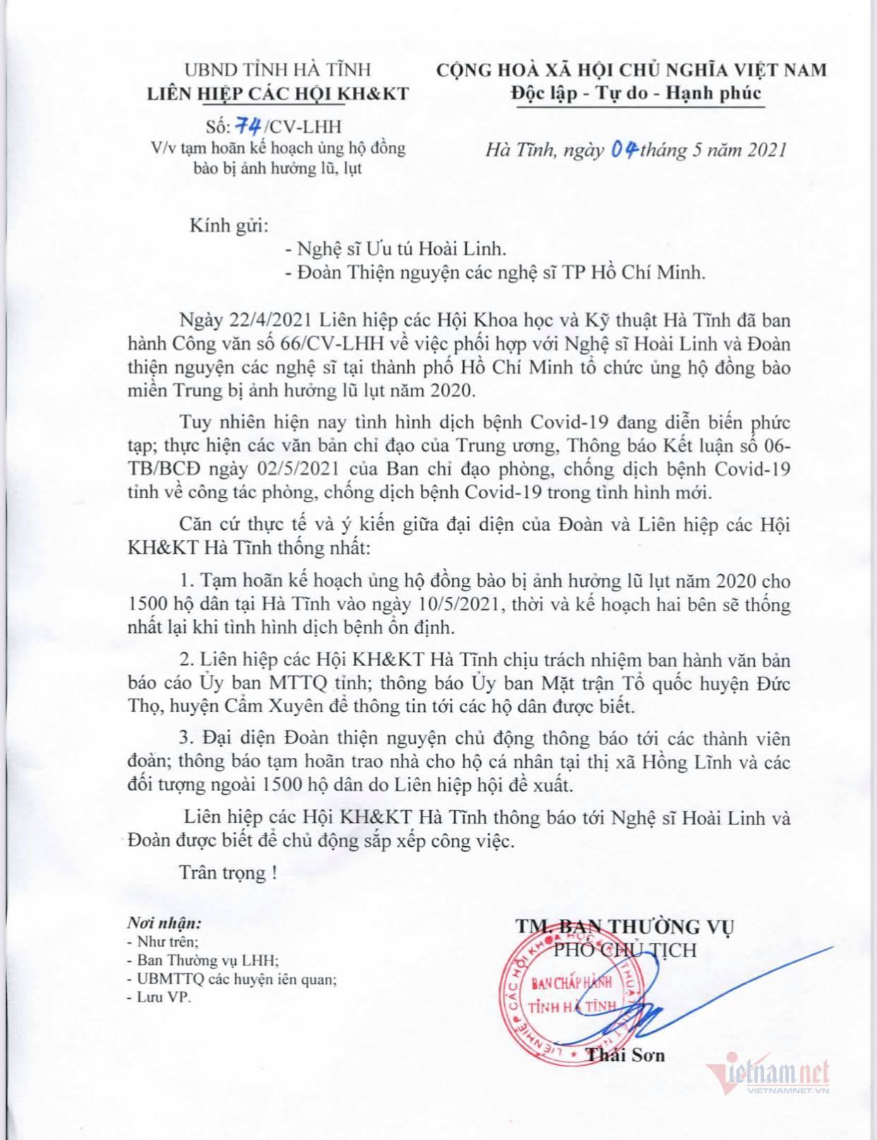 Hoài Linh dự kiến trao quà ở Hà Tĩnh nhưng hoãn do dịch