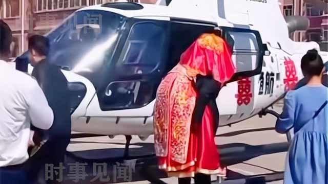 Chú rể dùng trực thăng đón dâu gây choáng