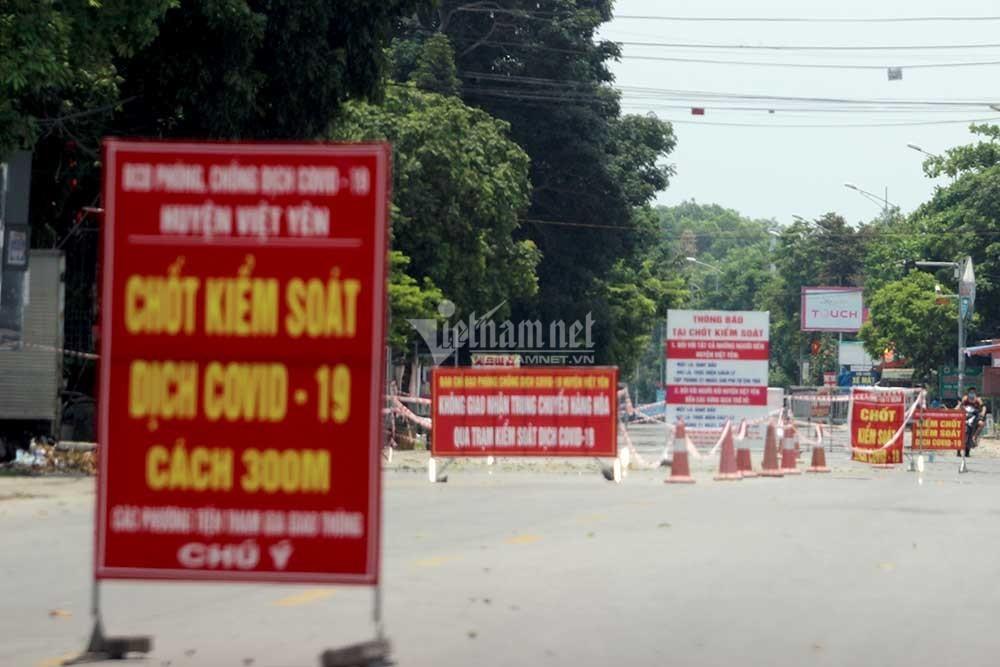 Huyện Việt Yên Bắc Giang chuyển sang giãn cách xã hội từ 5h ngày 1/7