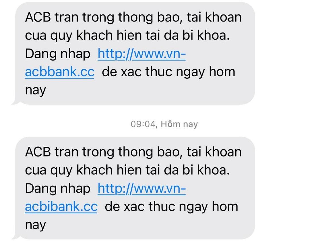 Người dân liên tục nhận tin nhắn dụ truy cập link từ ngân hàng giả