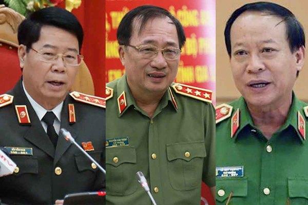 Ba thượng tướng thôi giữ chức vụ Thứ trưởng Bộ Công an