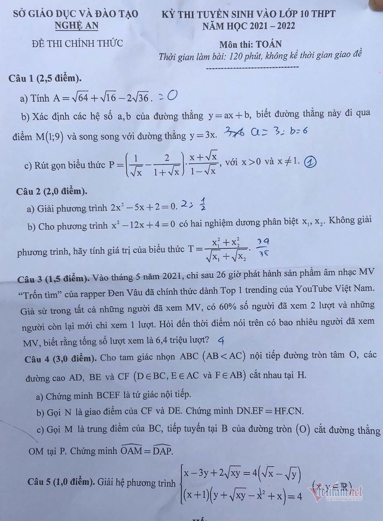 Đề Toán thi vào lớp 10 Nghệ An: Thí sinh gặp khó từ nấc 7,5 điểm