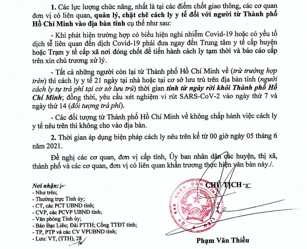 Bạc Liêu cách ly người về từ TP.HCM, Tiền Giang đóng quán ăn dọc quốc lộ