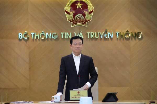 Bộ trưởng Nguyễn Mạnh Hùng phát biểu tại giao ban quản lý nhà nước tháng 6/2021