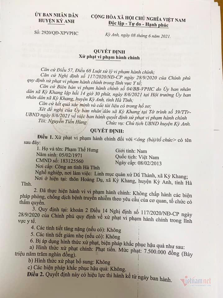300 giáo dân hành lễ giữa mùa dịch: Phạt linh mục 7,5 triệu đồng