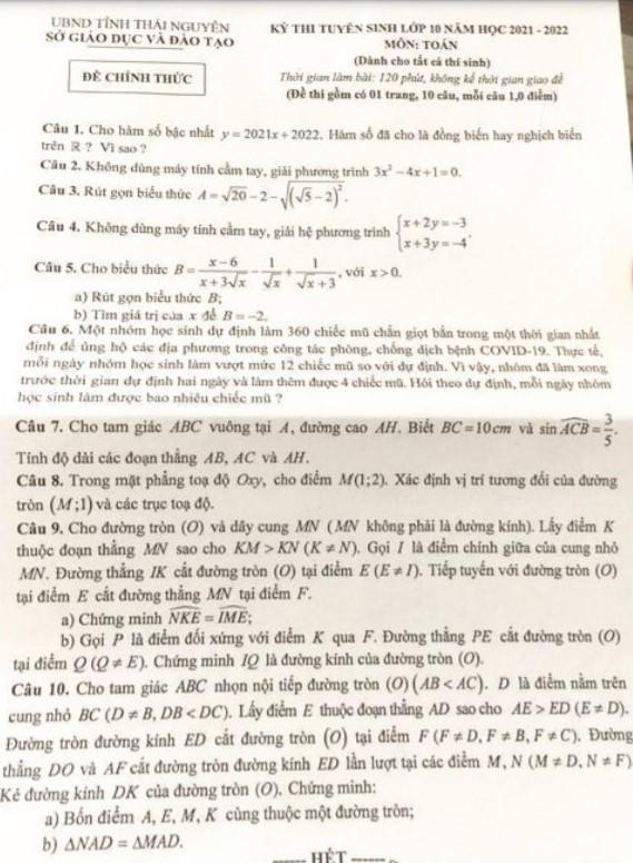 Hướng dẫn giải đề thi môn Toán vào lớp 10 tỉnh Thái Nguyên