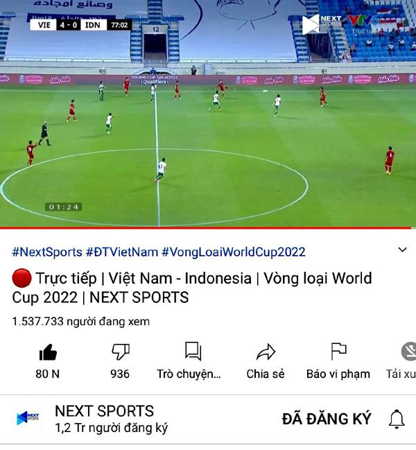 Trận Việt Nam-Indonesia xác lập kỷ lục người xem trên Internet, vượt cả Rap Việt