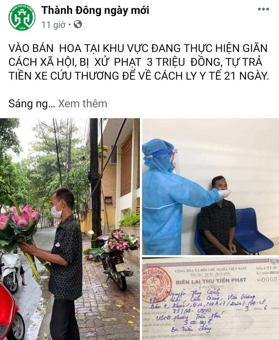 Người đàn ông nghèo Hải Dương bán hoa sen bị phạt, nhiều người thương cho tiền