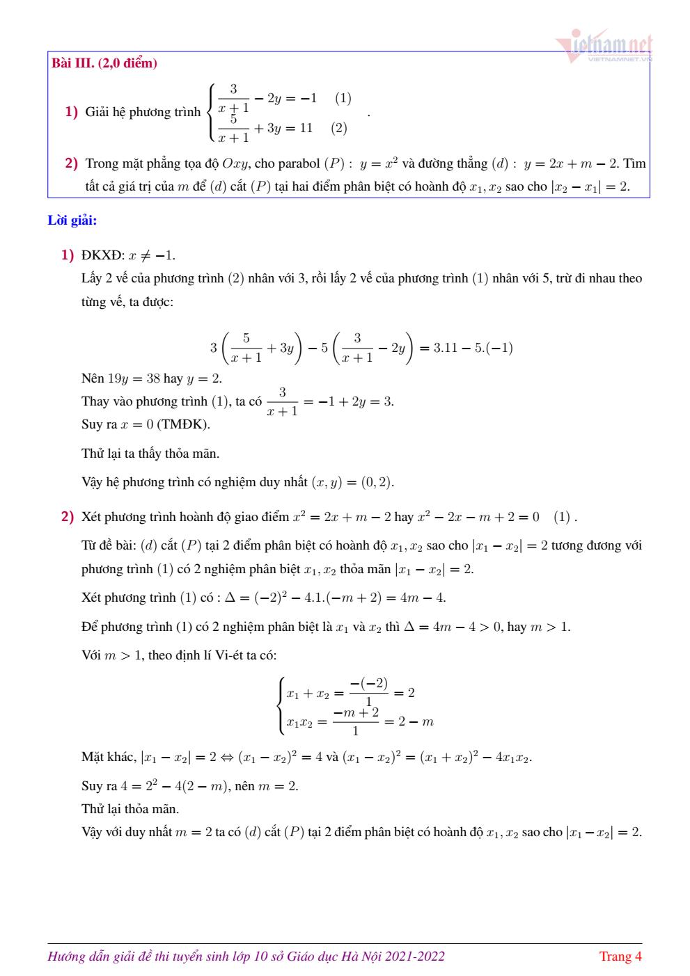 Lời giải đề thi lớp 10 môn Toán của Hà Nội