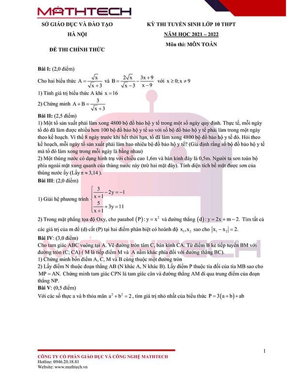 Lời giải đề thi lớp 10 môn Toán của Hà Nội 2021