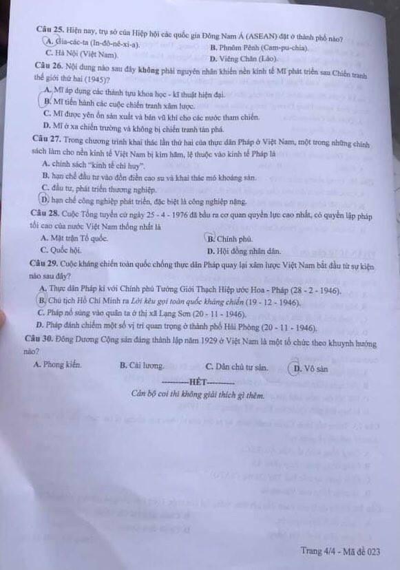 Đáp án môn Lịch sử thi lớp 10 Hà Nội