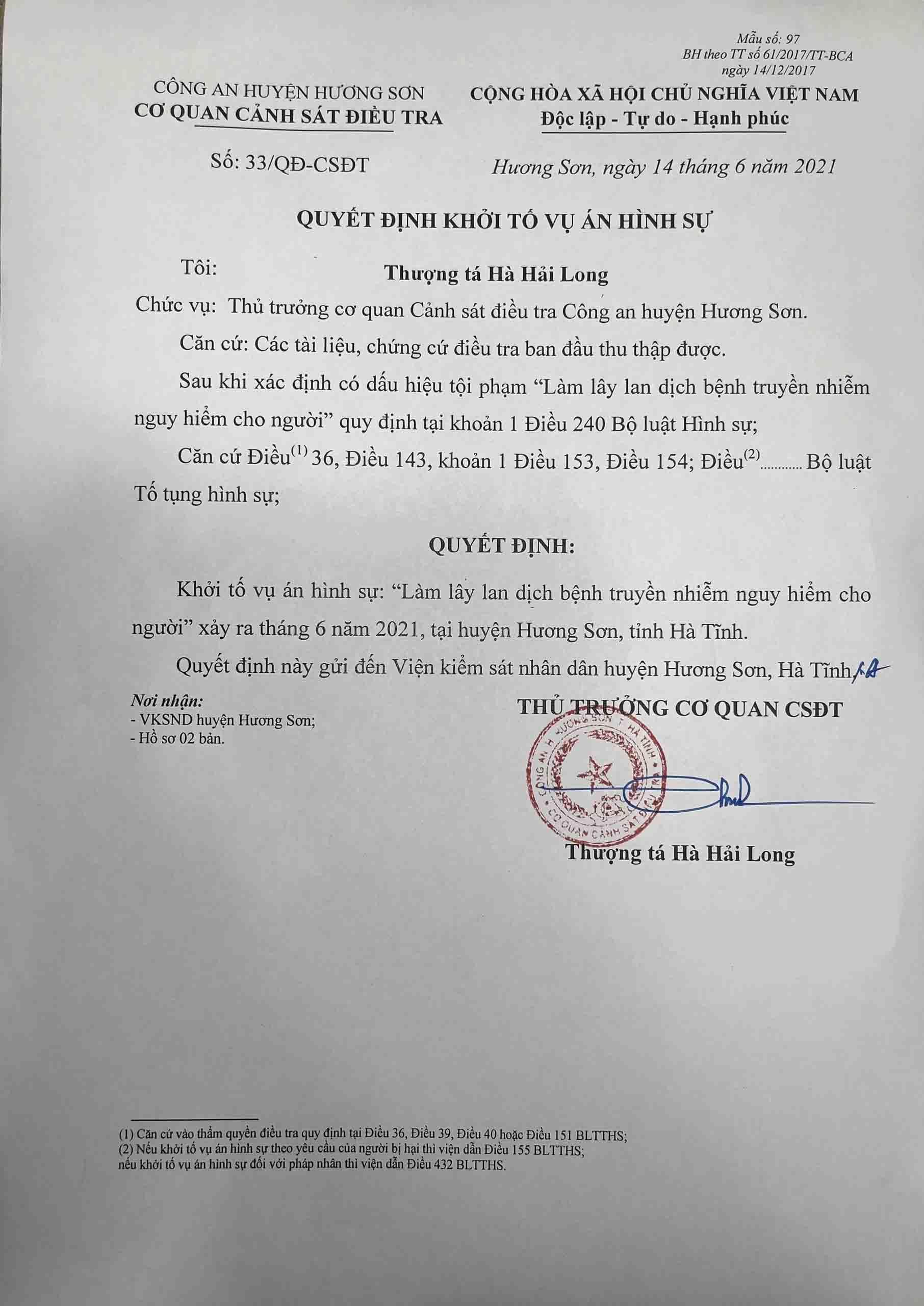 Khởi tố vụ án làm lây lan dịch bệnh nguy hiểm ở Hà Tĩnh