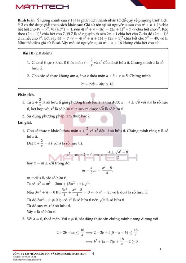 Lời giải đề Toán chuyên vào lớp 10 ở Hà Nội năm 2021