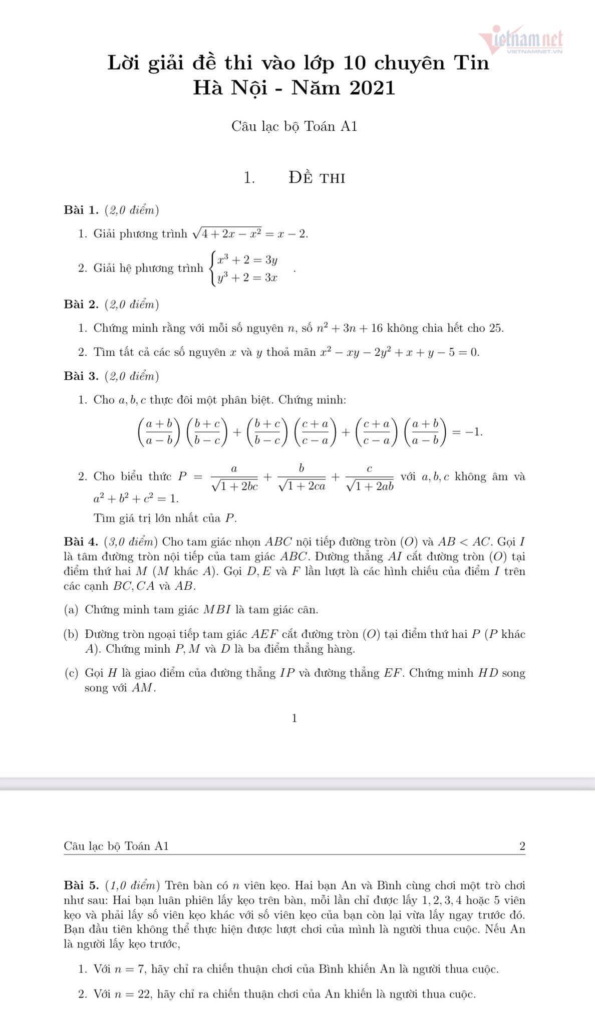 Hướng dẫn giải đề thi vào lớp 10 chuyên Tin