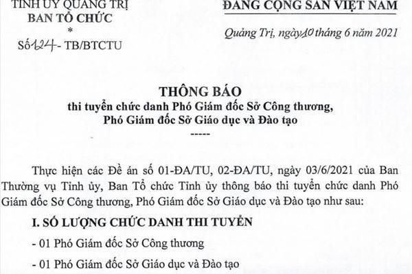 Quảng Trị lần đầu thi tuyển Phó Giám đốc Sở GD&ĐT