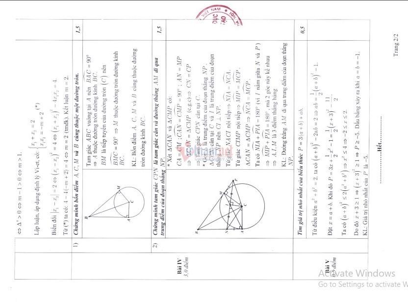 Sở GD-ĐT Hà Nội công bố đáp án và thang điểm môn Toán thi vào lớp 10