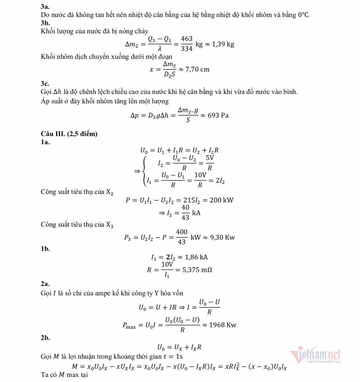 Lời giải tham khảo đề thi Vật lý vào chuyên Sư phạm