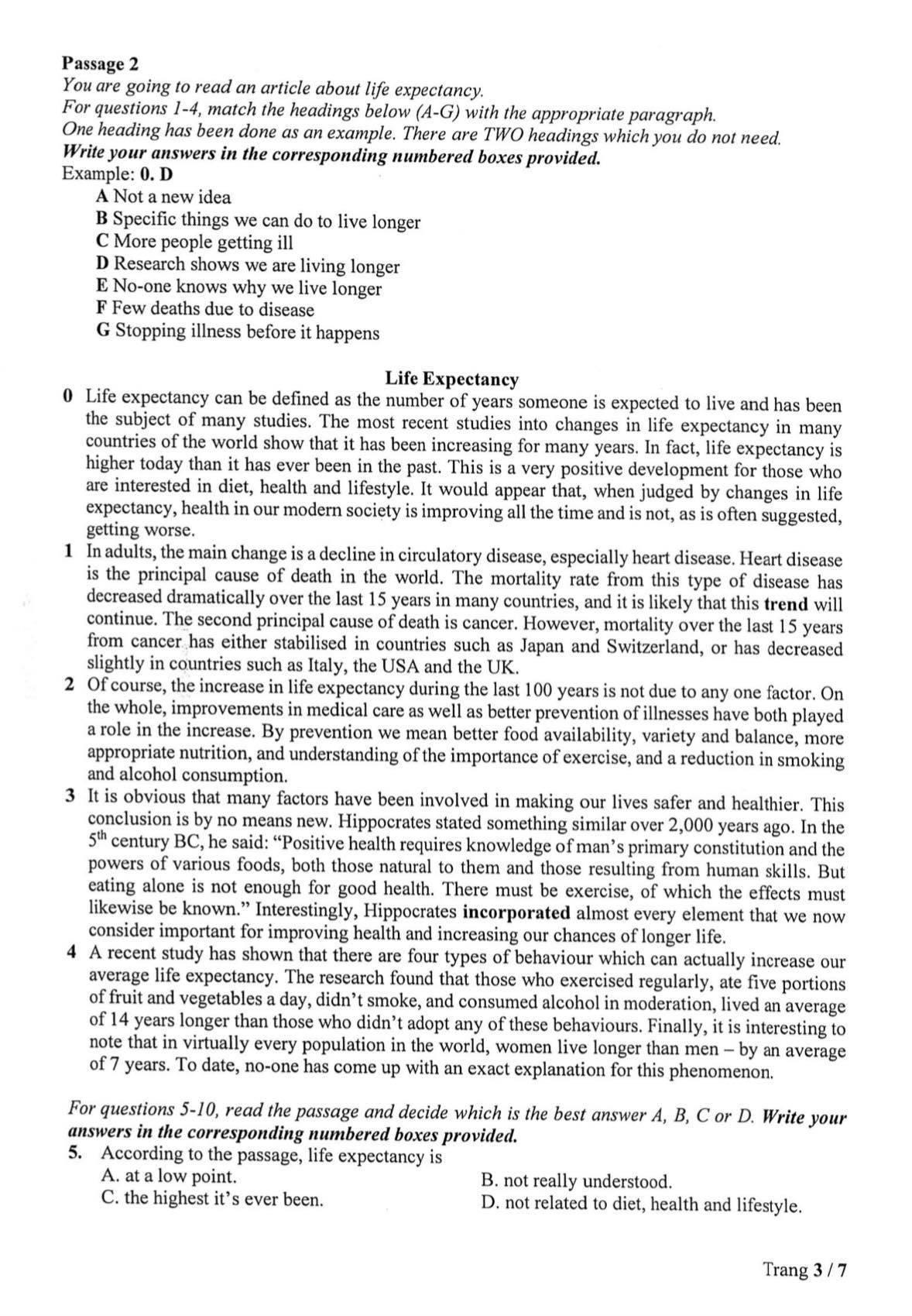 Trường Phổ thông năng khiếu công bố đề thi vào lớp 10