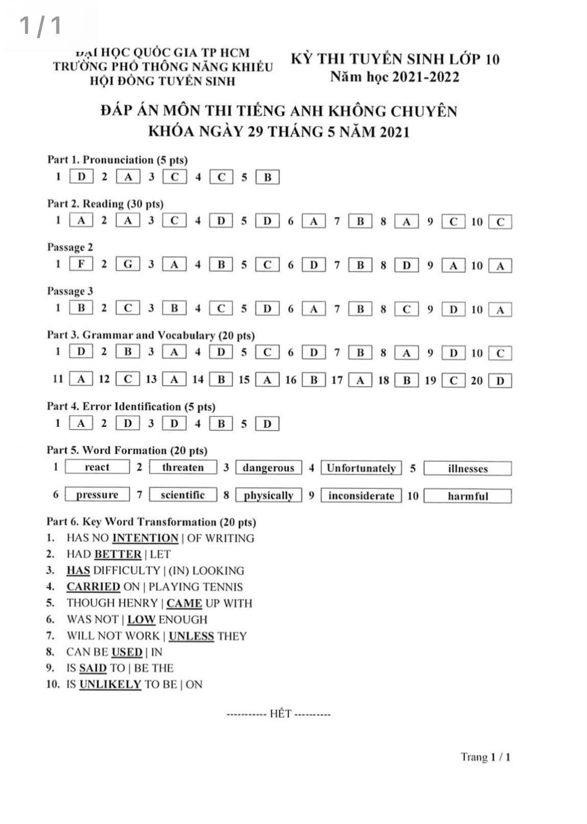 Đáp án môn Toán, Ngữ văn, tiếng Anh vào lớp 10 Trường PTNK