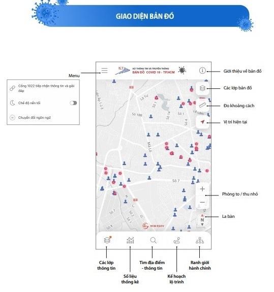 TP.HCM cập nhật bản đồ giúp người dân tìm đường tránh nơi có nguy cơ lây nhiễm
