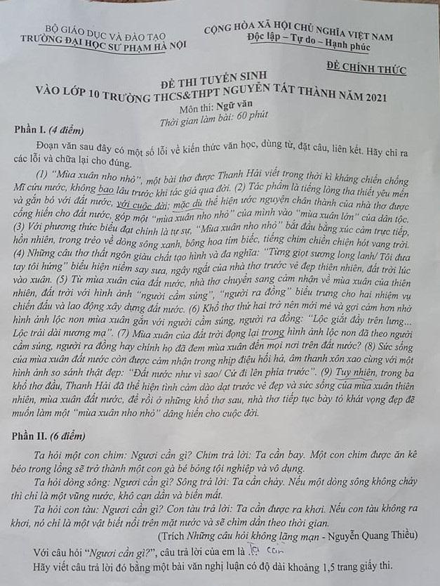 Những đề thi Ngữ văn gây tiếng vang trong mùa thi lớp 10