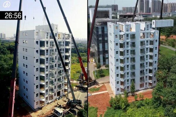 Xem Trung Quốc thần tốc dựng chung cư 10 tầng trong hơn một ngày