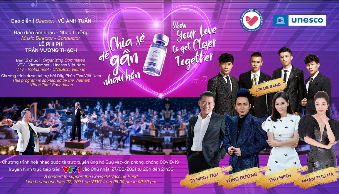 Tùng Dương, Thu Minh, Phạm Thu Hà hát hòa nhạc 'Chia sẻ để gần nhau hơn'