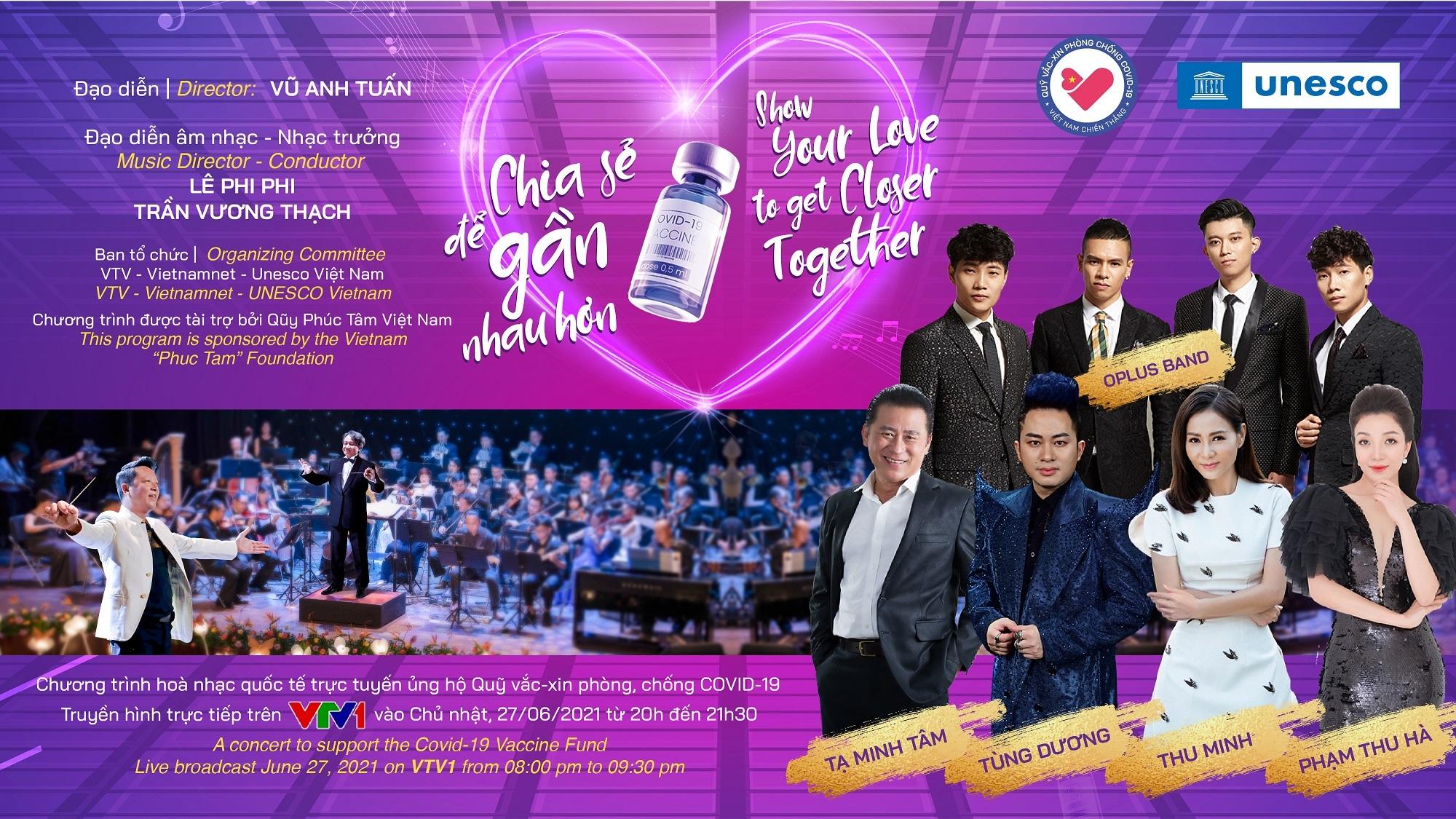 Phạm Thu Hà hạnh phúc cất tiếng hát ở Hòa nhạc ủng hộ Quỹ vắc-xin Covid-19