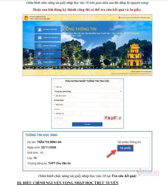 Hướng dẫn các bước xác nhận nhập học lớp 10 công lập ở Hà Nội năm 2021