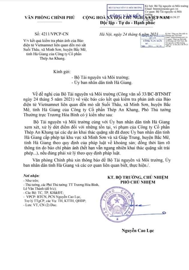 Phó Thủ tướng Trương Hòa Bình chỉ đạo xử lý thông tin mỏ sắt Suối Thâu