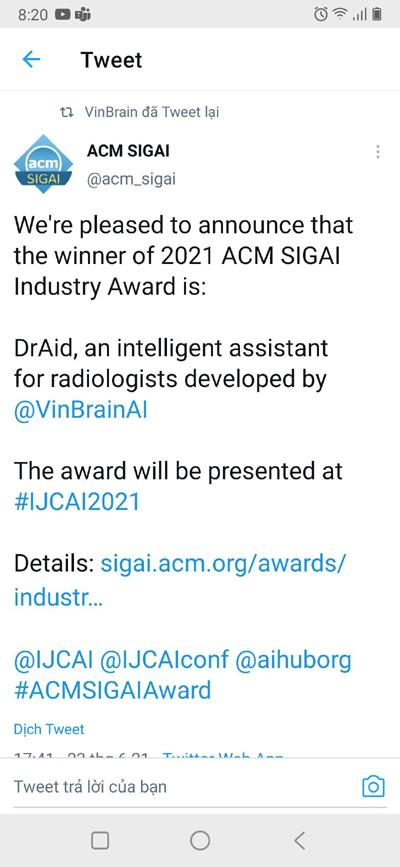 VinBrain giành giải thưởng quốc tế Sản phẩm AI xuất sắc nhất 2021