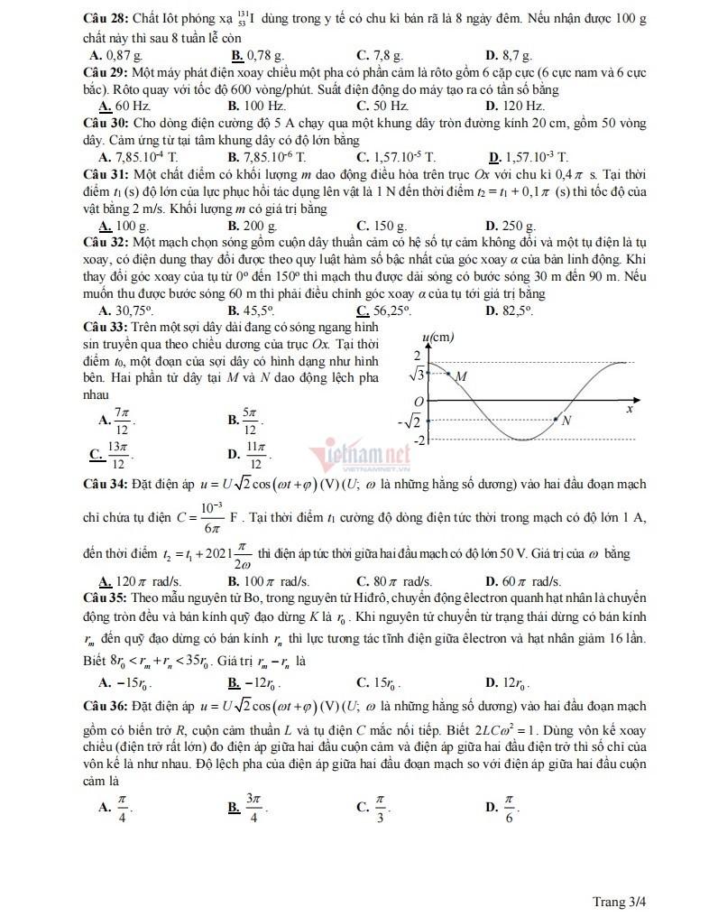 Đề thi thử tốt nghiệp THPT môn Vật lý năm 2021 của Nam Định