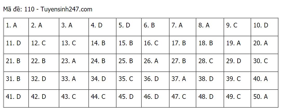 Đáp án môn toán thi tốt nghiệp THPT 2021 mã đề 110